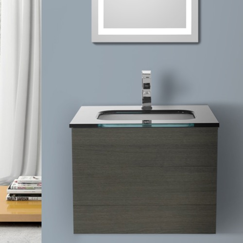 24 Inch Grey Oak Bathroom Vanity with Black Glass Top, Wall Mounted