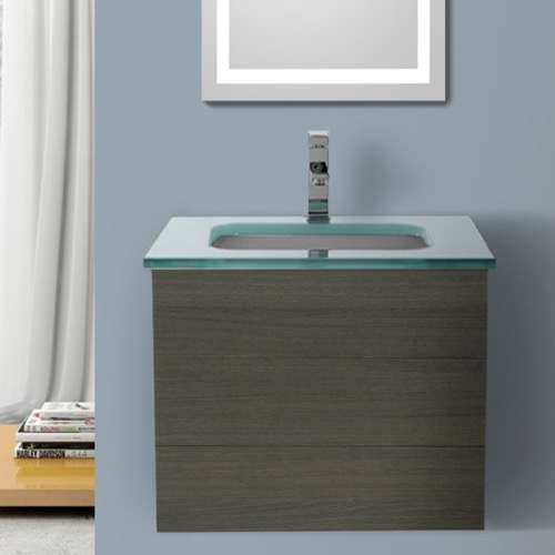 24 Inch Grey Oak Bathroom Vanity with White Glass Top, Wall Mounted