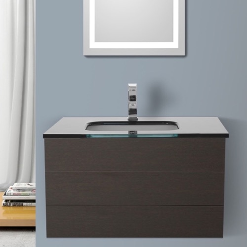 32 Inch Wenge Bathroom Vanity with Black Glass Top, Wall Mounted