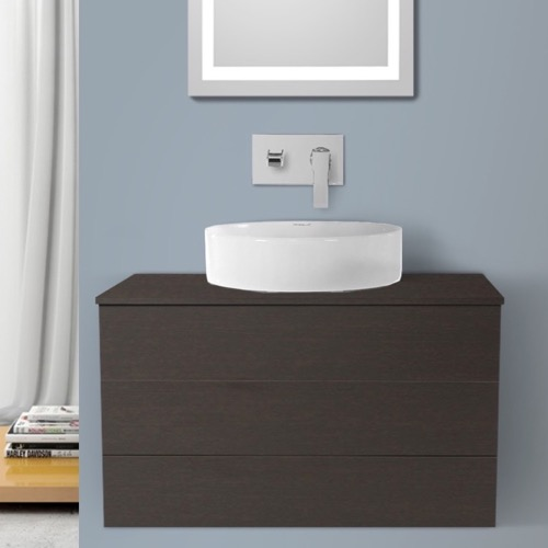 32 Inch Wenge Vessel Sink Bathroom Vanity, Wall Mounted