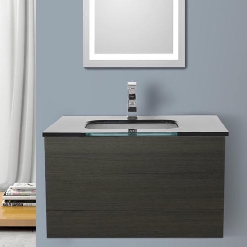 32 Inch Grey Oak Bathroom Vanity with Black Glass Top, Wall Mounted