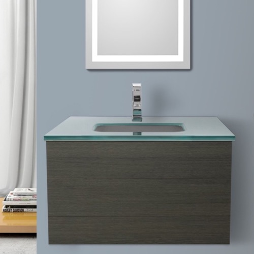 32 Inch Grey Oak Bathroom Vanity with White Glass Top, Wall Mounted