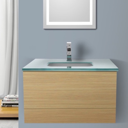32 Inch Natural Oak Bathroom Vanity with White Glass Top, Wall Mounted