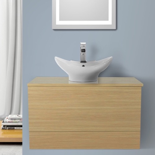32 Inch Natural Oak Vessel Sink Bathroom Vanity, Wall Mounted