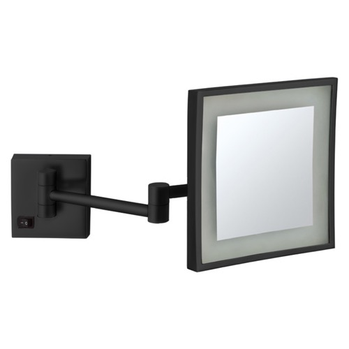 Matte Black Square Wall Mounted LED 5x Magnifying Mirror, Hardwired