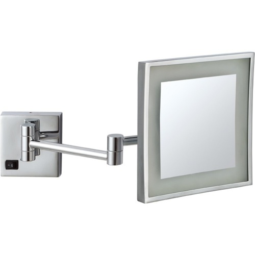 Square Wall Mounted LED 5x Magnifying Mirror, Hardwired