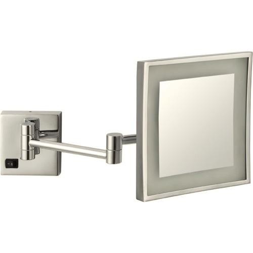 Satin Nickel Square Wall Mounted LED 5x Magnifying Mirror, Hardwired