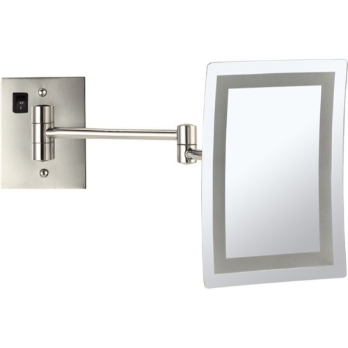 Satin Nickel Wall Mounted Square LED 3x Makeup Mirror