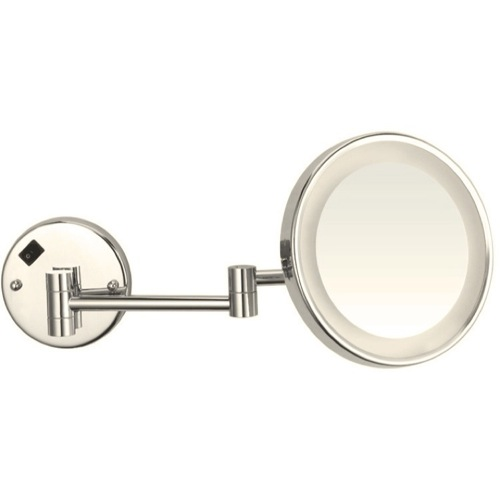 Satin Nickel Round Wall Mounted 3x Magnifying Mirror with LED, Hardwired
