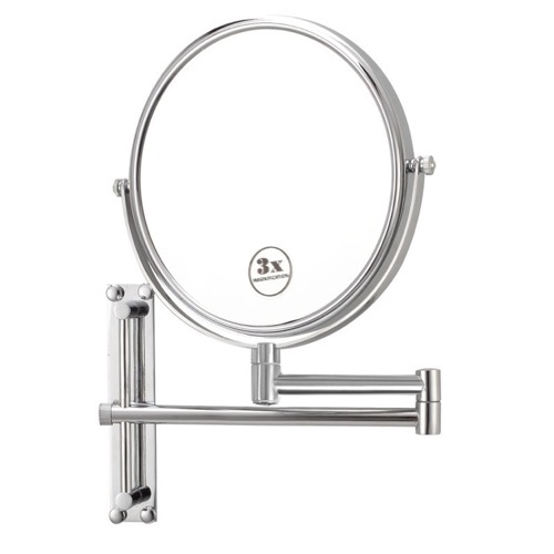 Round Wall Mounted Double Face 3x Makeup Mirror