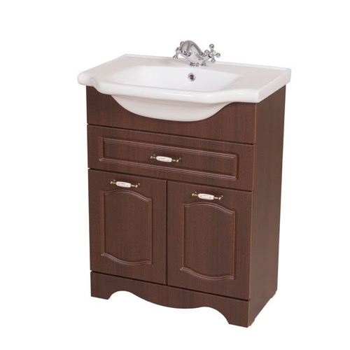 23 Inch Floor Standing Walnut Vanity Cabinet With Fitted Sink