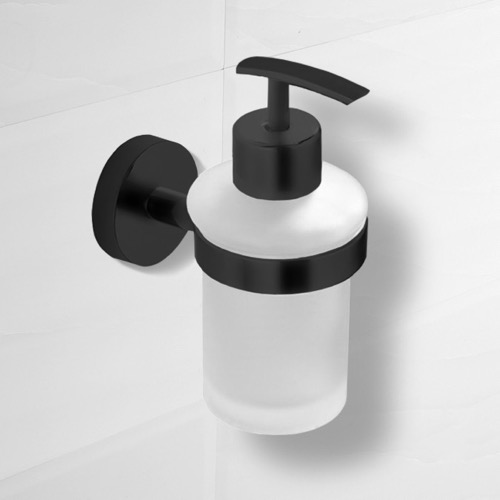 Matte Black Wall Mounted Frosted Glass Soap Dispenser