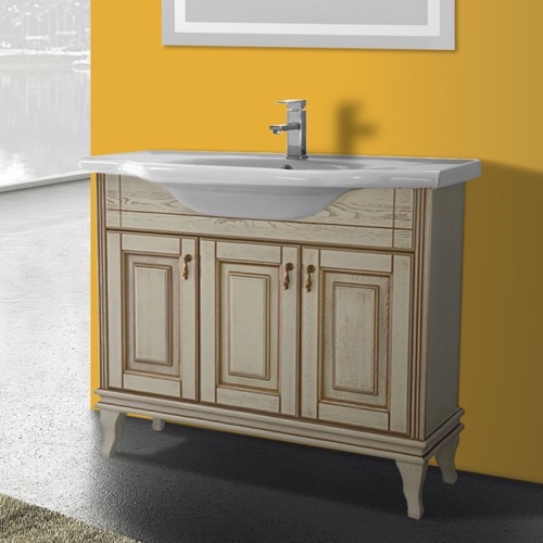 40 Inch Floor Standing Vanilla Vanity Cabinet With Fitted Sink