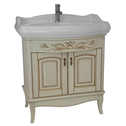 31 Inch Floor Standing Vanilla Vanity Cabinet With Fitted Sink