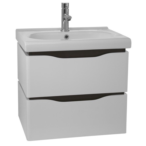 24 Inch Wall Mounted White Vanity Cabinet With Fitted Sink