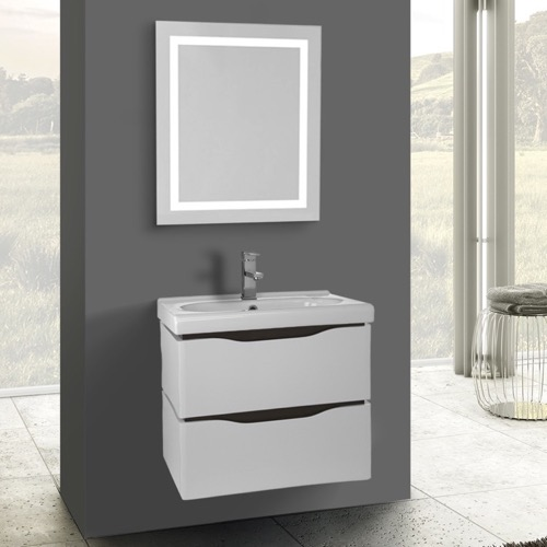 24 Inch White Wall Mounted Bathroom Vanity Set, Lighted Vanity Mirror Included
