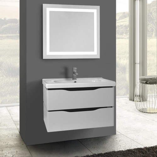 32 Inch White Wall Mounted Bathroom Vanity Set, Lighted Vanity Mirror Included