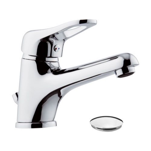 Single-Lever Bathroom Faucet With Long Spout and Pop-Up Waste