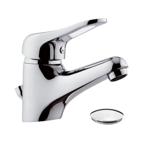 Chrome Single-Lever Bathroom Faucet With Pop-Up Waste