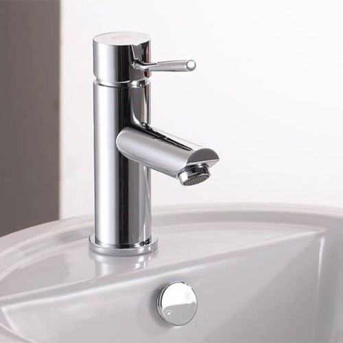 Chrome Round Bathroom Sink Faucet Without Pop-Up Waste