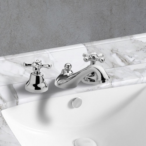 Chrome Widespread Bathroom Sink Faucet With Pop-Up Waste