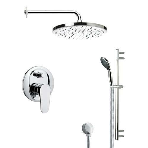 Round Polished Chrome Shower Faucet Set