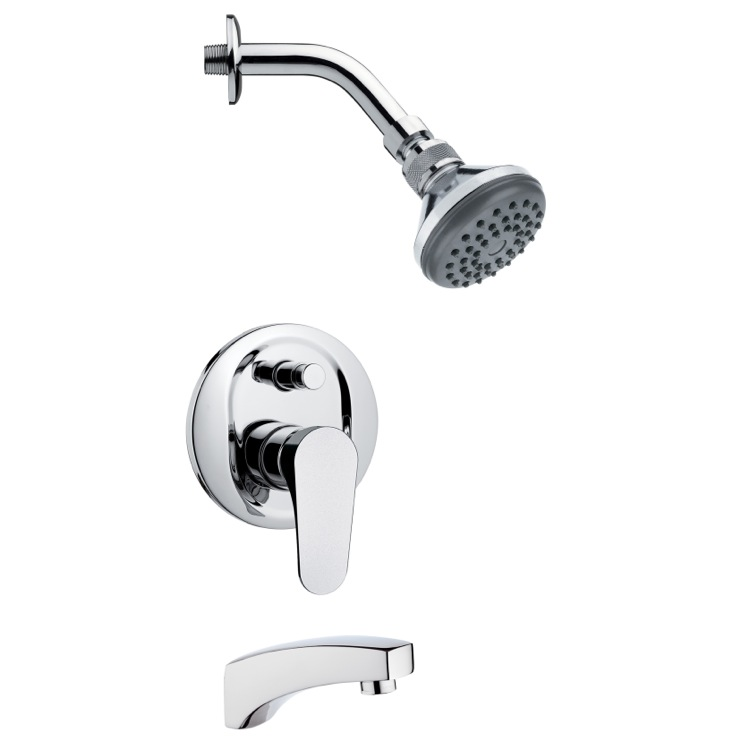Sleek Contemporary Tub and Shower Faucet Set