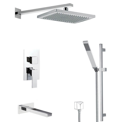 Square Themed Tub and Shower Faucet Available in 8 Finishes
