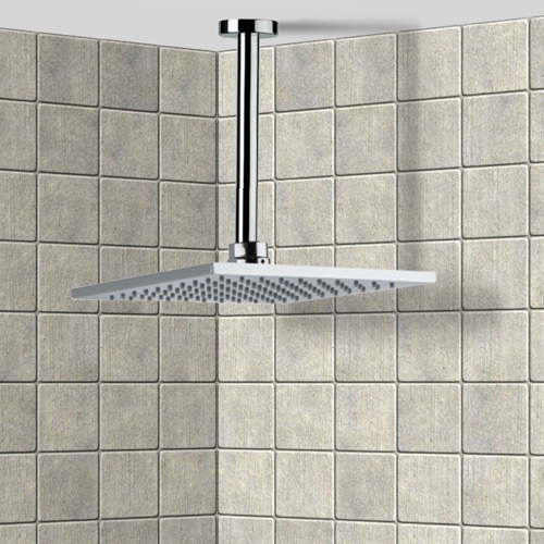 Square Polished Chrome Ceiling Mounted Rain Shower Head with Arm
