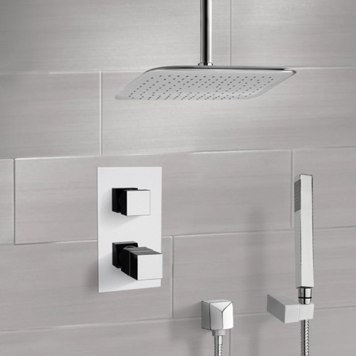 Chrome Thermostatic Shower System with Ceiling 14