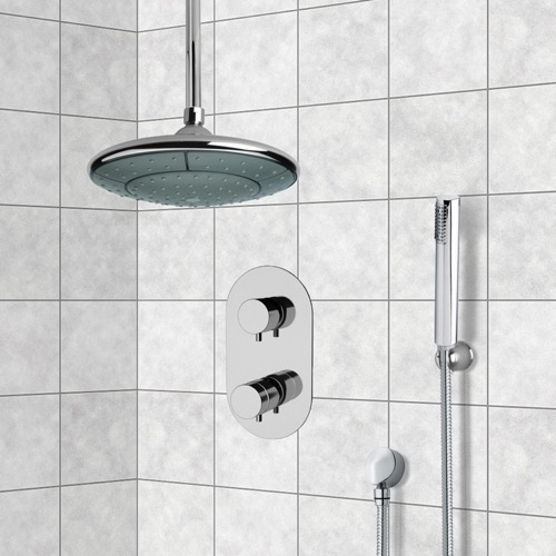 Chrome Thermostatic Shower System with 9