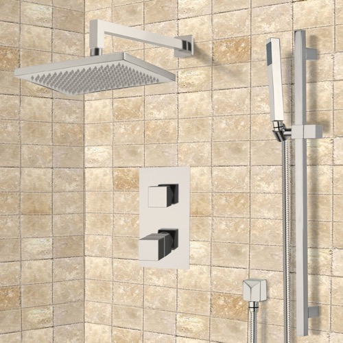 Satin Nickel Thermostatic Shower System with 9.5