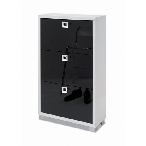 Shoe Rack with 3 Folding Double-Depth Doors With Glossy White Base and Glossy Black Doors