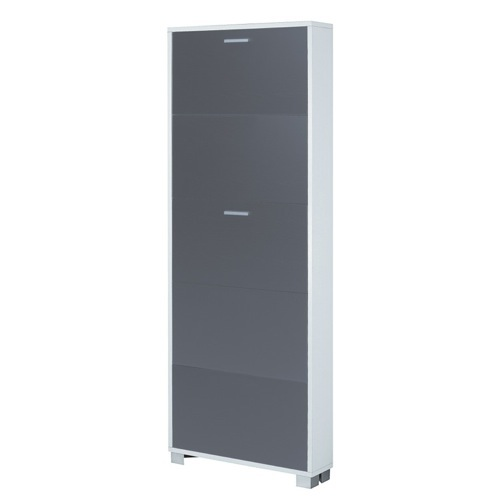 Shoe Rack, Sarmog 755SW-SB, Shoe Rack with 5 Folding Single-Depth Doors With Slub White Base and Slub Black Doors 755SW-SB
