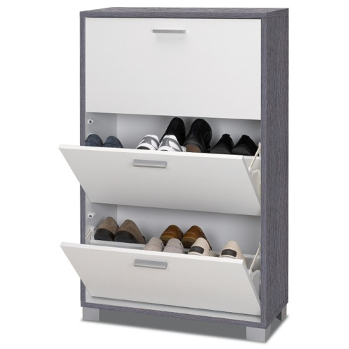 Shoe Rack, Sarmog 763GO-GW, Shoe Rack with 3 Folding Glossy White Double-Depth Doors With Gray Oak Base 763GO-GW