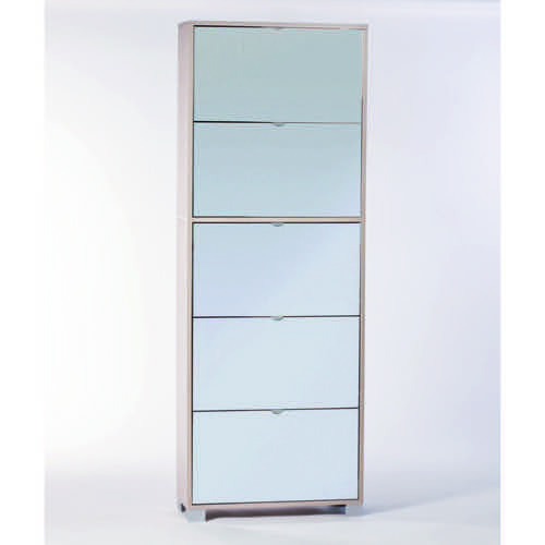 Clear Elm Shoe Rack with 5 Double-Depth Mirror Folding Doors