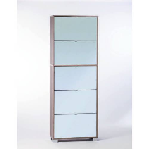 Gray Oak Shoe Rack with 5 Double-Depth Mirror Folding Doors