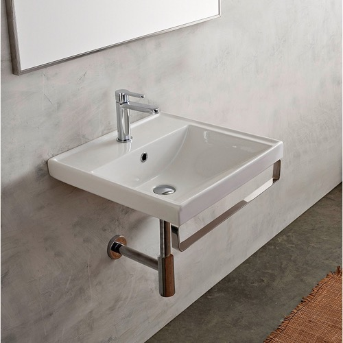 Square Wall Mounted Ceramic Sink With Polished Chrome Towel Bar