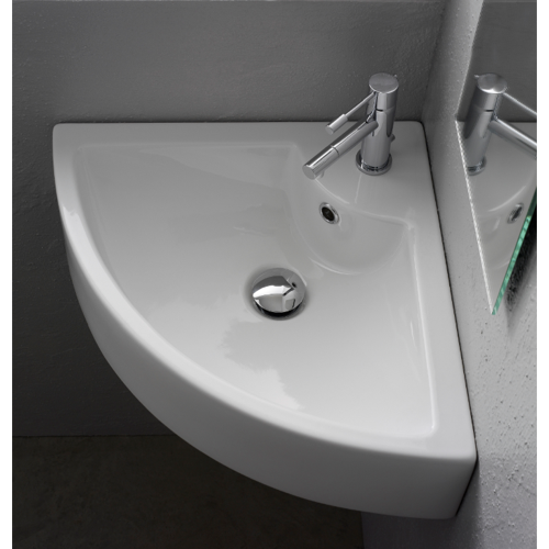 Square White Ceramic Wall Mounted or Vessel Corner Sink