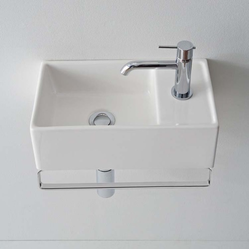 Small Wall Mounted Ceramic Sink With Polished Chrome Towel Bar
