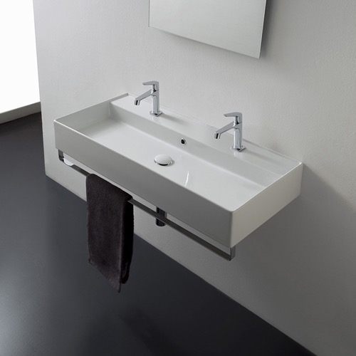 Wall Mounted Double Ceramic Sink With Polished Chrome Towel Bar