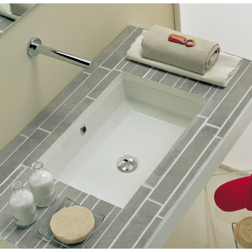 Rectangular White Ceramic Undermount Sink