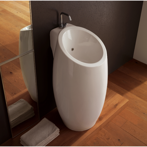 ... Sink, Scarabeo 8104, Round White Ceramic Floor Standing Sink 8104