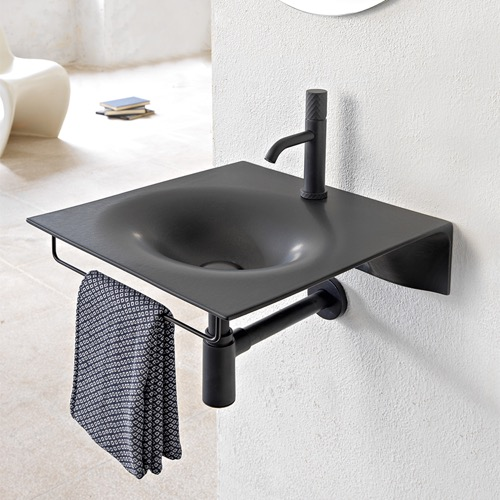 Ultra Thin Matte Black Ceramic Wall Mounted Sink With Black Towel Bar