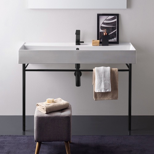 Large Ceramic Console Sink and Matte Black Stand
