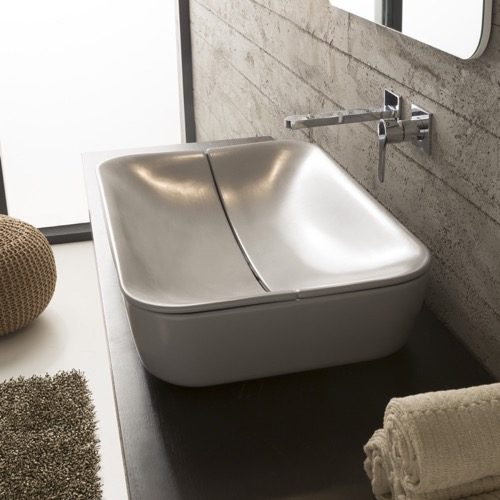 Rectangular White Ceramic Vessel Sink with Cover