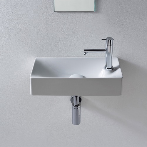 Rectangular Small White Ceramic Wall Mounted or Vessel Sink