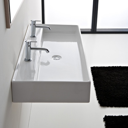White Trough Bathroom Sink : Rectangular White Ceramic Wall Mounted or Vessel Sink