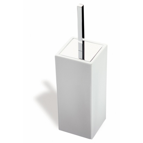 Toilet Brush, StilHaus 633, Square White Ceramic Toilet Brush Holder 633