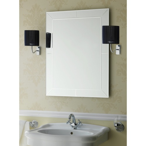 Rectangular Wall Mounted Bevelled and Engraved Mirror